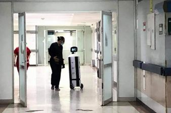 Autonomous Robot Triages COVID-19 Patients